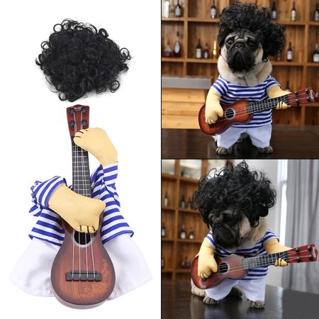 Ymiko Funny Pet Dog Cat Costume Guitar Player Puppy Dress Halloween Christmas Party with wig , Funny Pet Clothes, Pet Party