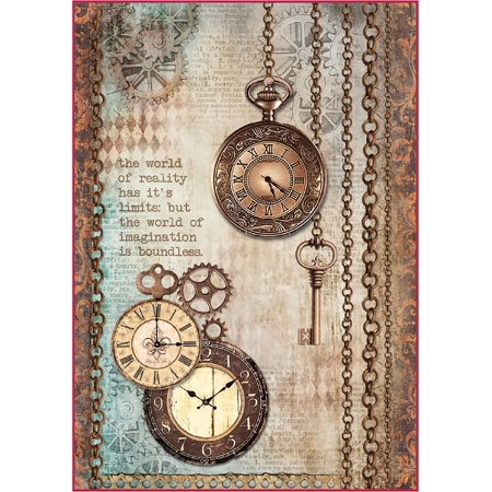 - Stamperia Rice Paper Sheet A4-Clockwise Clock & Keys