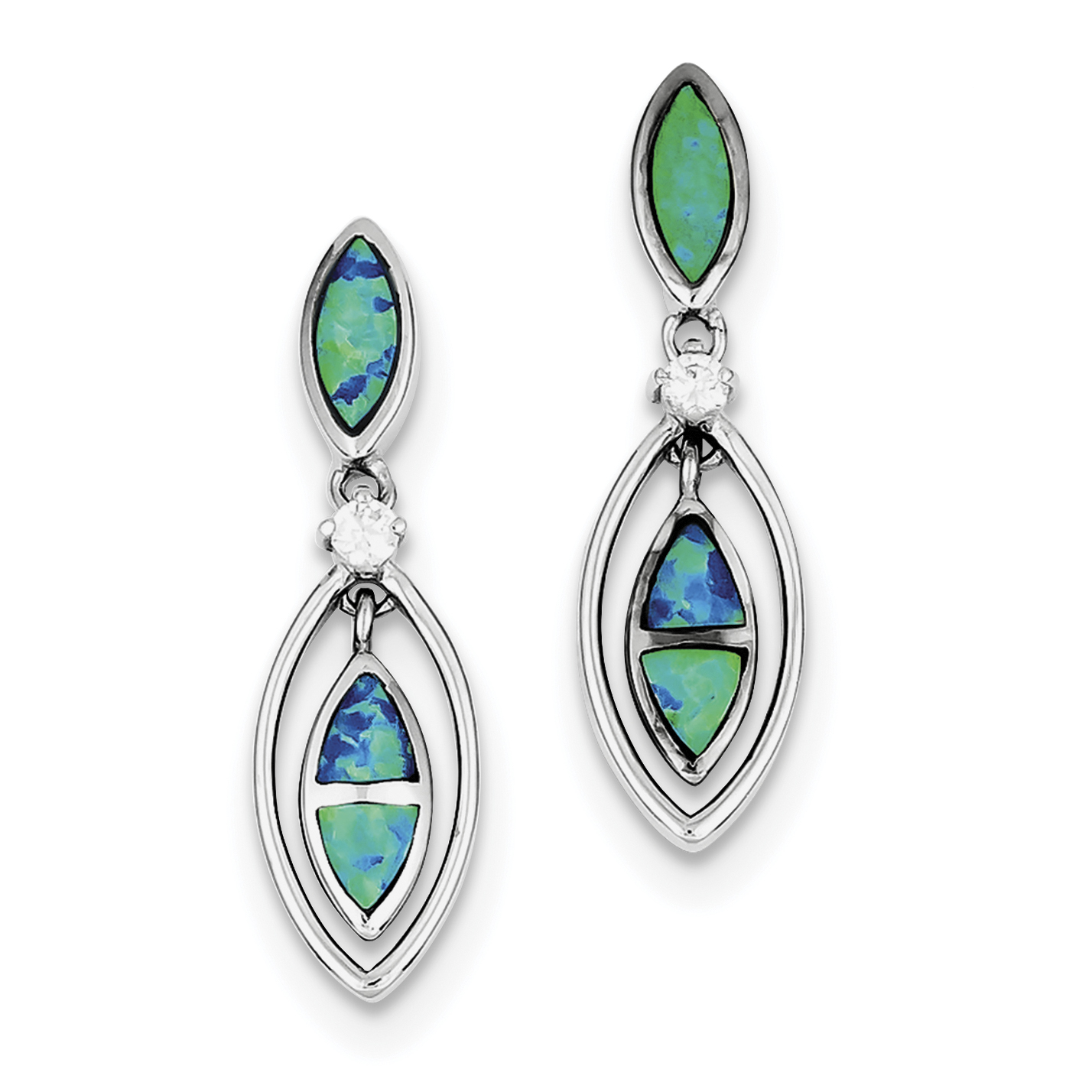 Roy Rose Jewelry Sterling Silver CZ Blue Inlay Created Opal Marquise Earrings