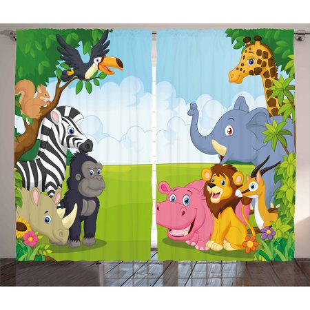 Kids Curtains 2 Panels Set, Kids Design Children Nursery Room Safari Themed Cartoon Animals Image Artwork Print, Window Drapes for Living Room Bedroom, 108W X 63L Inches, Multicolor, by Ambesonne