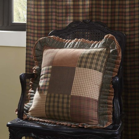 Remarkable Dark Olive Green Primitive Bedding Cinnamon Plaid Cotton Patchwork Square 18X18 Pillow Pillow Cover Pillow Insert Customarchery Wood Chair Design Ideas Customarcherynet
