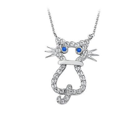 Lovebrightjewelry Sapphire And Cubic Zirconia Cat Pendant In 925 Sterling Silver With Free Chain Affordable Price