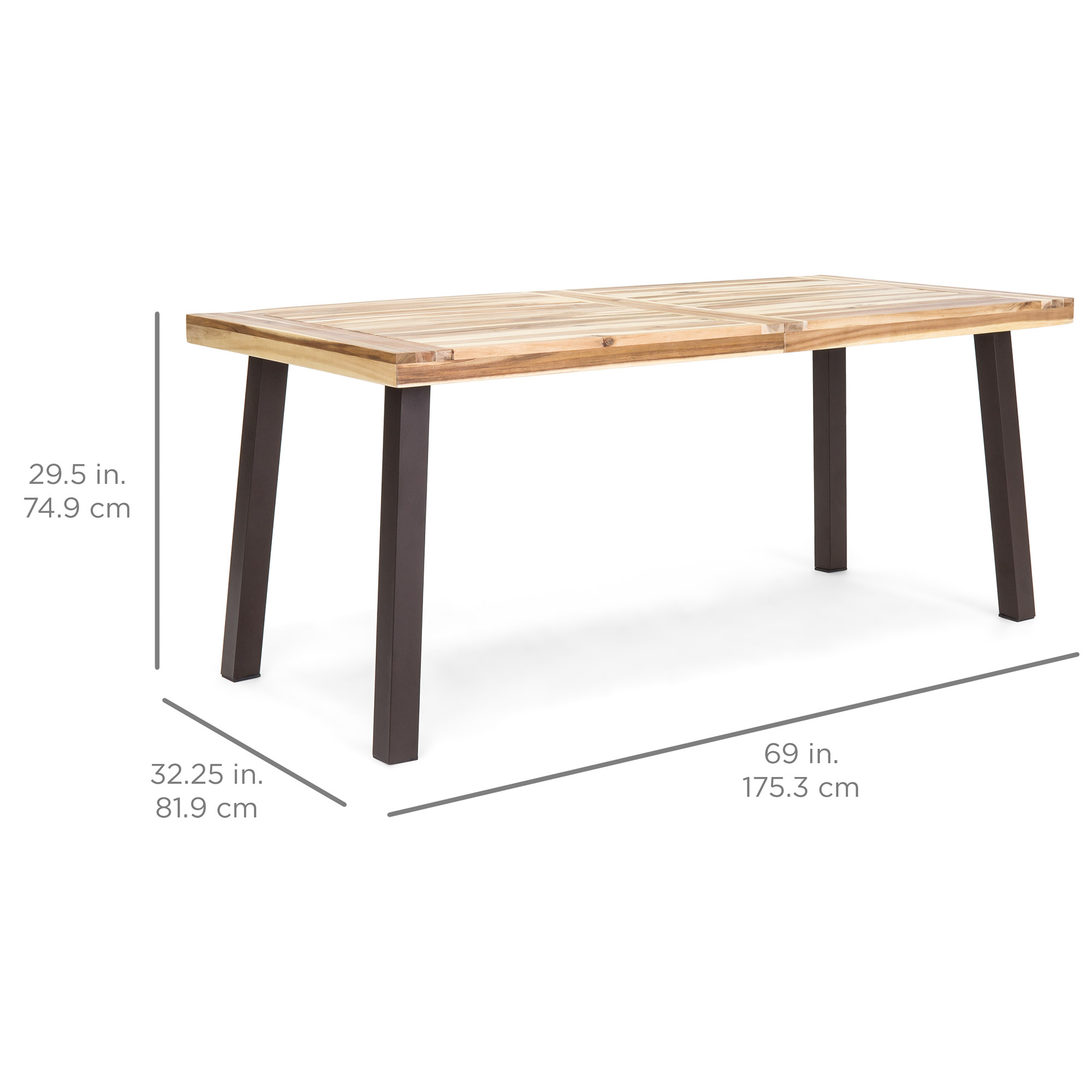Best Choice Products 6 Person Indoor Outdoor Patio Rustic Acacia Wood Picnic Dining Table W Metal Finish Legs Brown