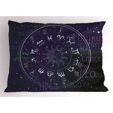 - Astrology Pillow Sham Horoscope Zodiac Sign in Circle Wheel Shape on Star Seem Backdrop Print, Decorative Standard Size Printed Pillowcase, 26 X 20 Inches, Dark Blue and White, by Ambesonne