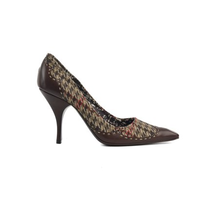 Prada Womens Brown Houndstooth Wool Leather Pointed Toe Pumps