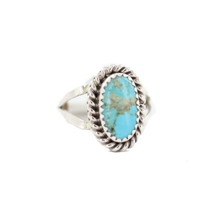 Delicate $200 Retail Tag .925 Sterling Silver Navajo Authentic Handmade Made by Randall Dalgai Natural Turquoise Native American Ring Size 8