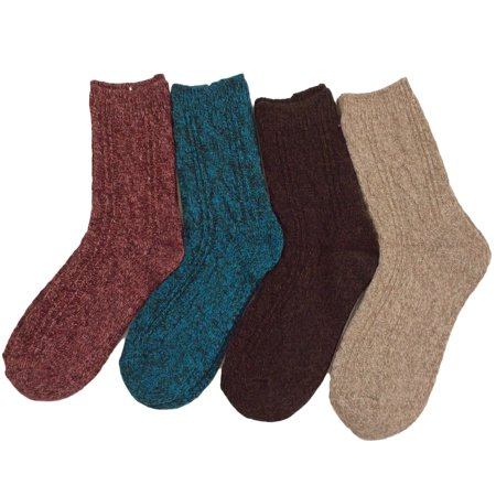 Lovely Annie Women's 4 Pairs Pack Fashion Soft Wool Crew Socks Size 6-9 - Soft Wool Socks