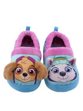 paw patrol skye everest toddler girls plush aline slippers (11-12 m us little kid, blue/purple)