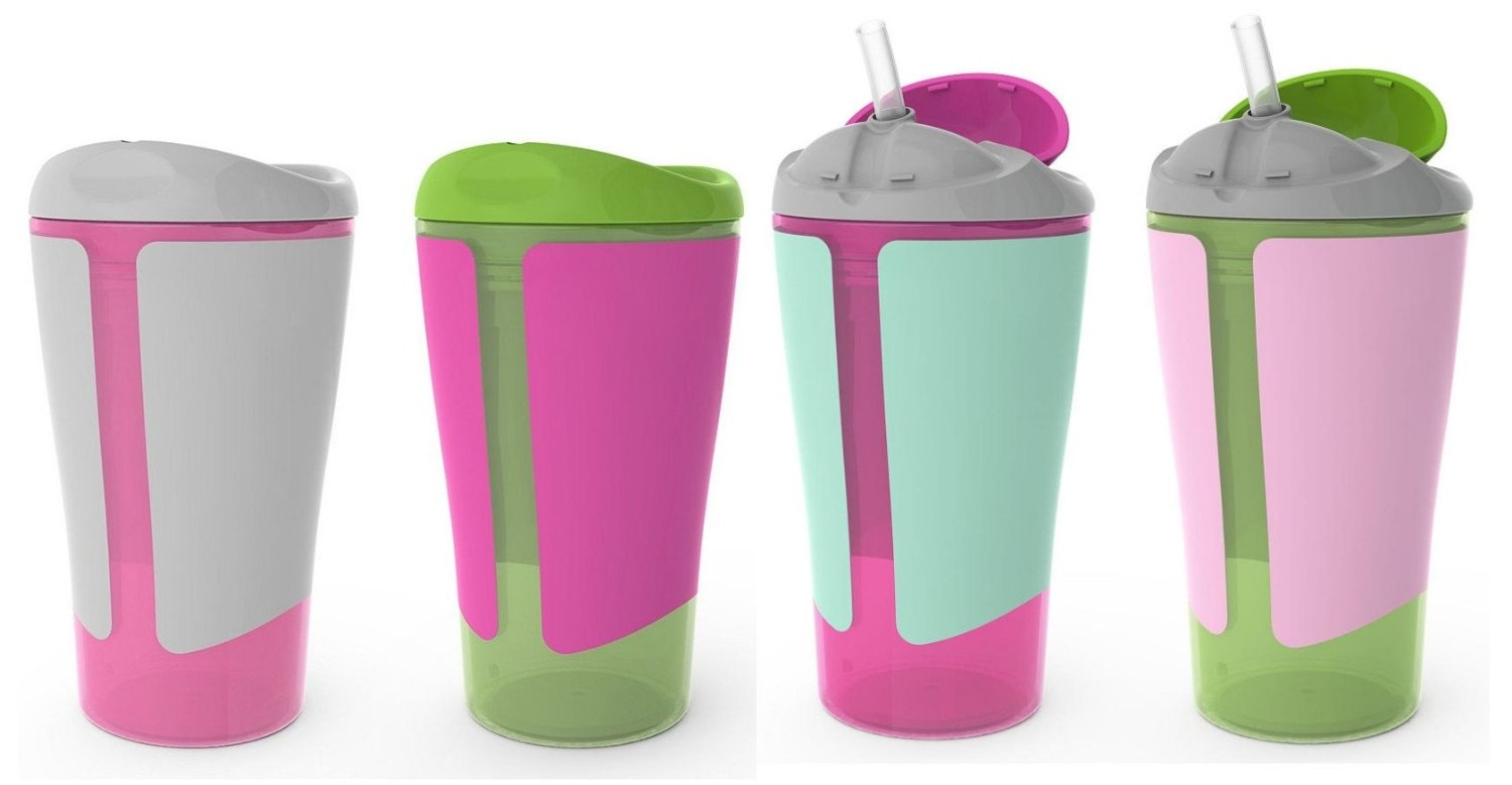Born Free Grow with Me 10 oz Straw Cup & Spoutless Cup Set, Pink by BF