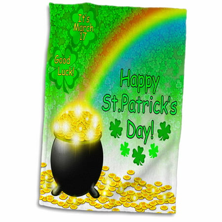 Rainbow And Pot Of Gold (3dRose Digital Art St. Patricks Pot of Gold end of Rainbow and Green Clover - Towel, 15 by)