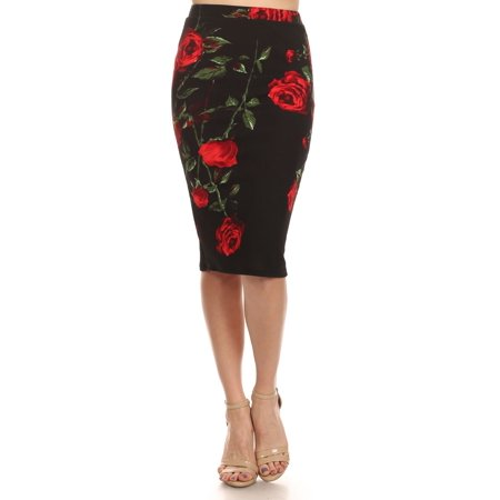 Women's Red Roses Pencil - Red Pencil Skirt