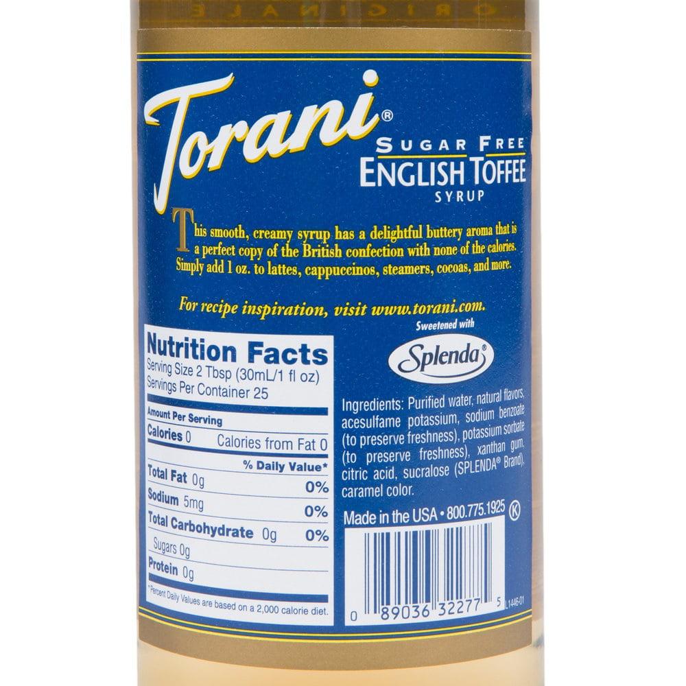 Torani Syrup - SUGAR FREE - English Toffee - Walmart.com