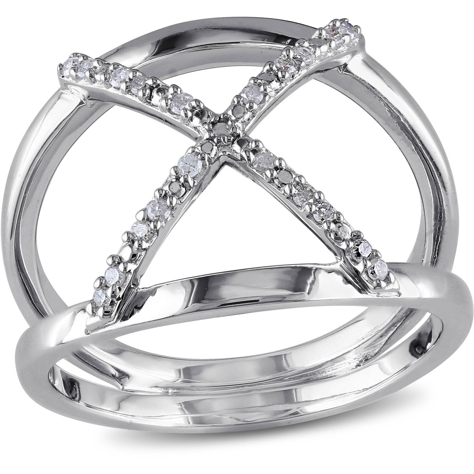 Miabella Diamond Accent Sterling Silver Cross-Over Ring