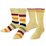 TeeHee  Combed Cotton Men's Crew Socks 2-pair Pack Rugby Stripes