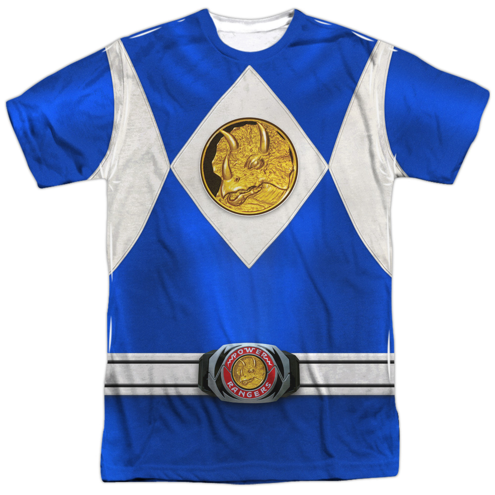 Mighty Morphin Power Rangers Blue Ranger Emblem Mens Sublimation Shirt