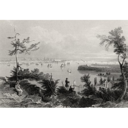 View Of New York From Weehawken Usa From A 19Th Century Print Engraved By R Wallis After W H Bartlett Stretched Canvas - Ken Welsh  Design Pics (17 x 11)