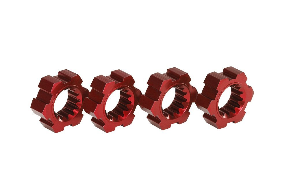 7756R Red-Anodized Aluminum Wheel Hubs (set of 4), Upgraded wheel hubs for Traxxas X-Maxx... by