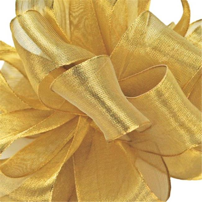 Offray 244364 5 inch Wired Edge Firefly Ribbon - 15 Yards, Gold - No.  120