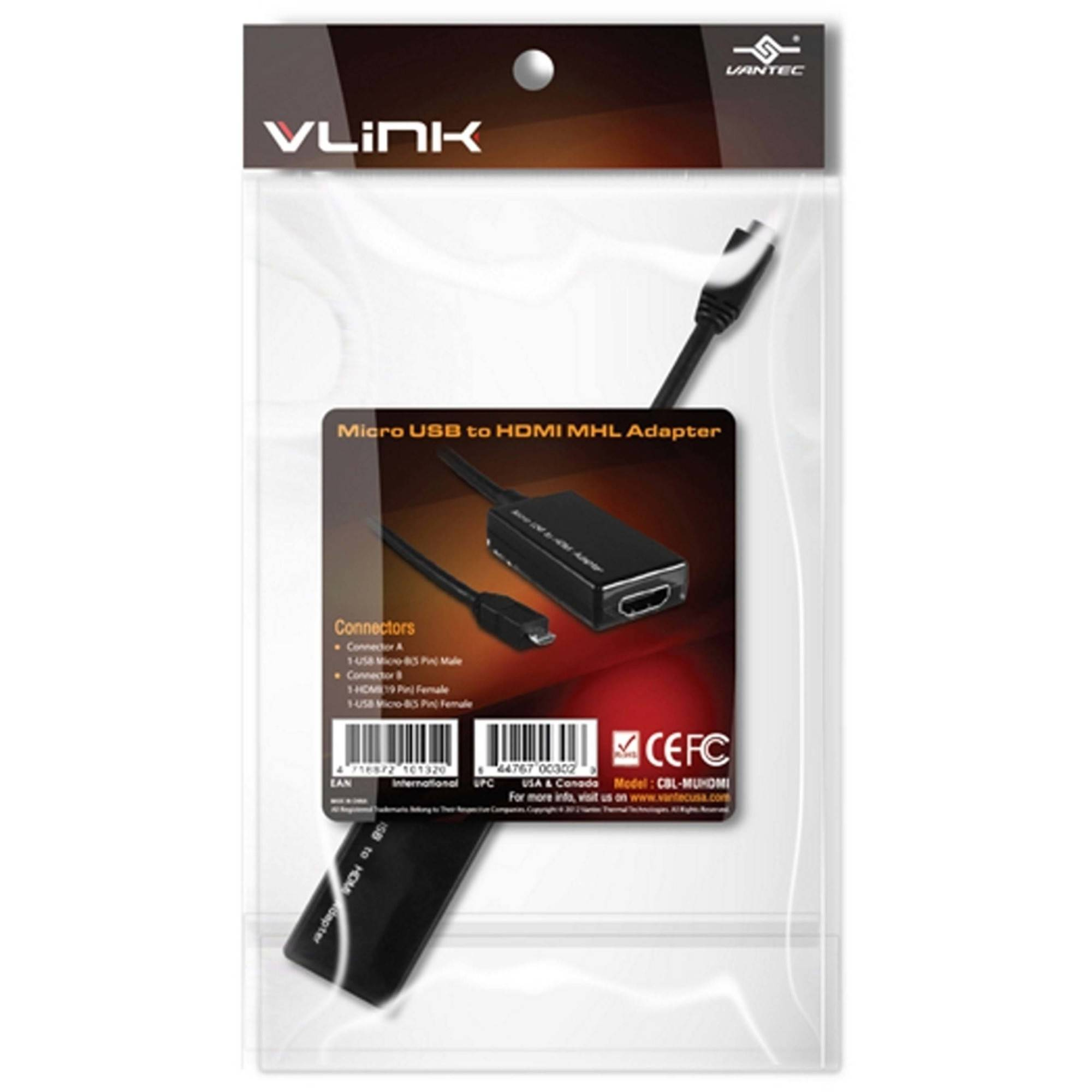 Vantec CBL-MUHDMI microUSB to HDMI MHL Adapter, Black