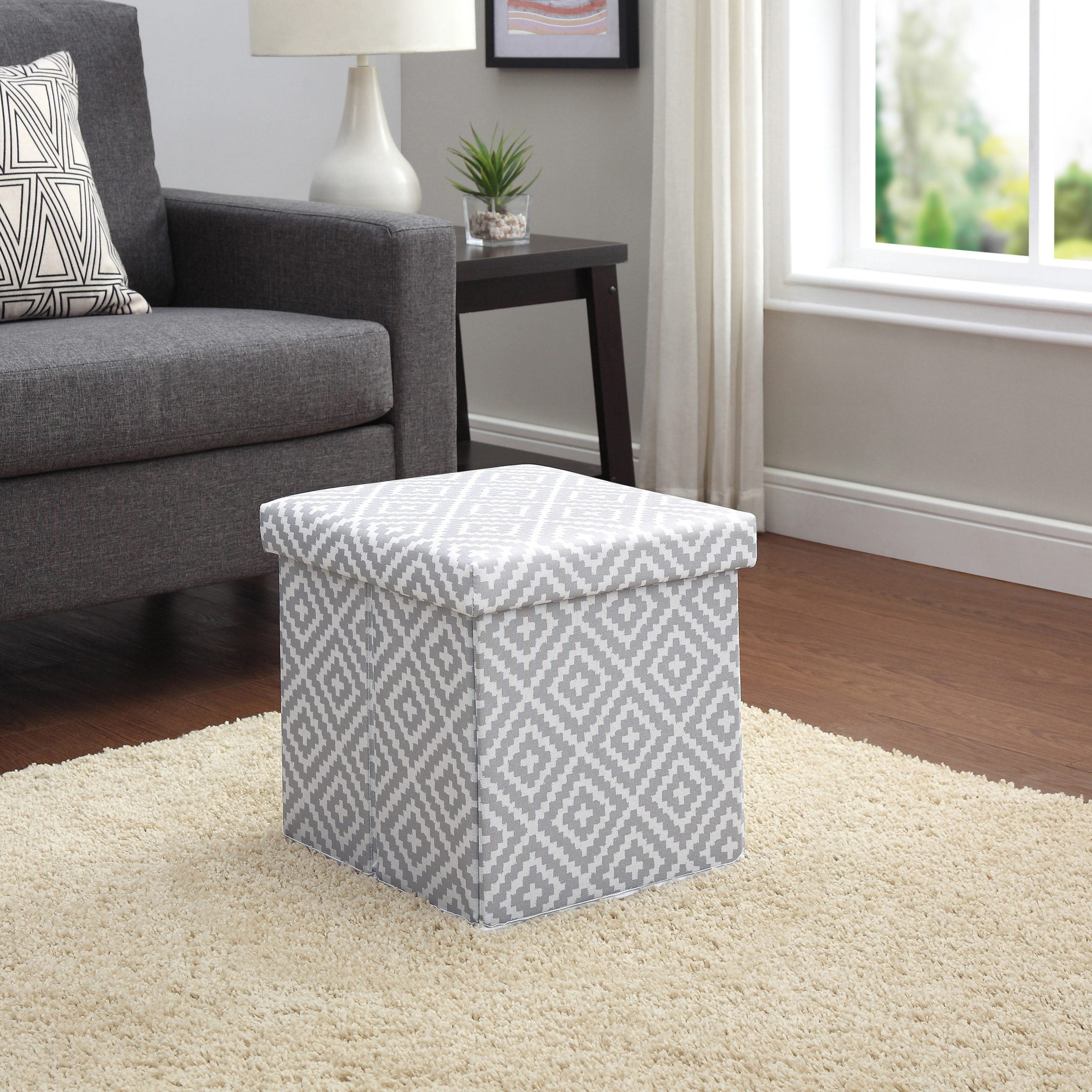 Mainstays Collapsible Storage Ottoman, Diamond Pumice