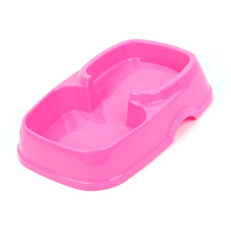 Fuchsia plastic double side food water pet dog cat bowl for Plastic dog bowls for party