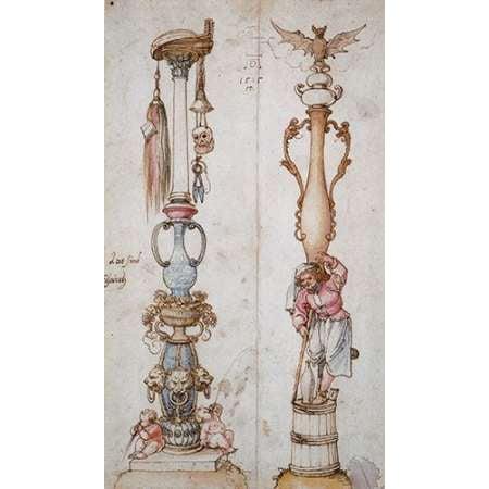 Two Emblematical Designs For Columns Poster Print by Albrecht Durer (12 x 18) ()