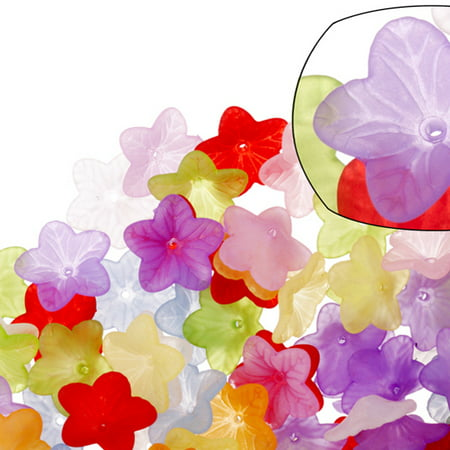 Flower Mix Color Frosted Acrylic Beads 18mm Sold per pkg of - Frosted Acrylic Flower Beads