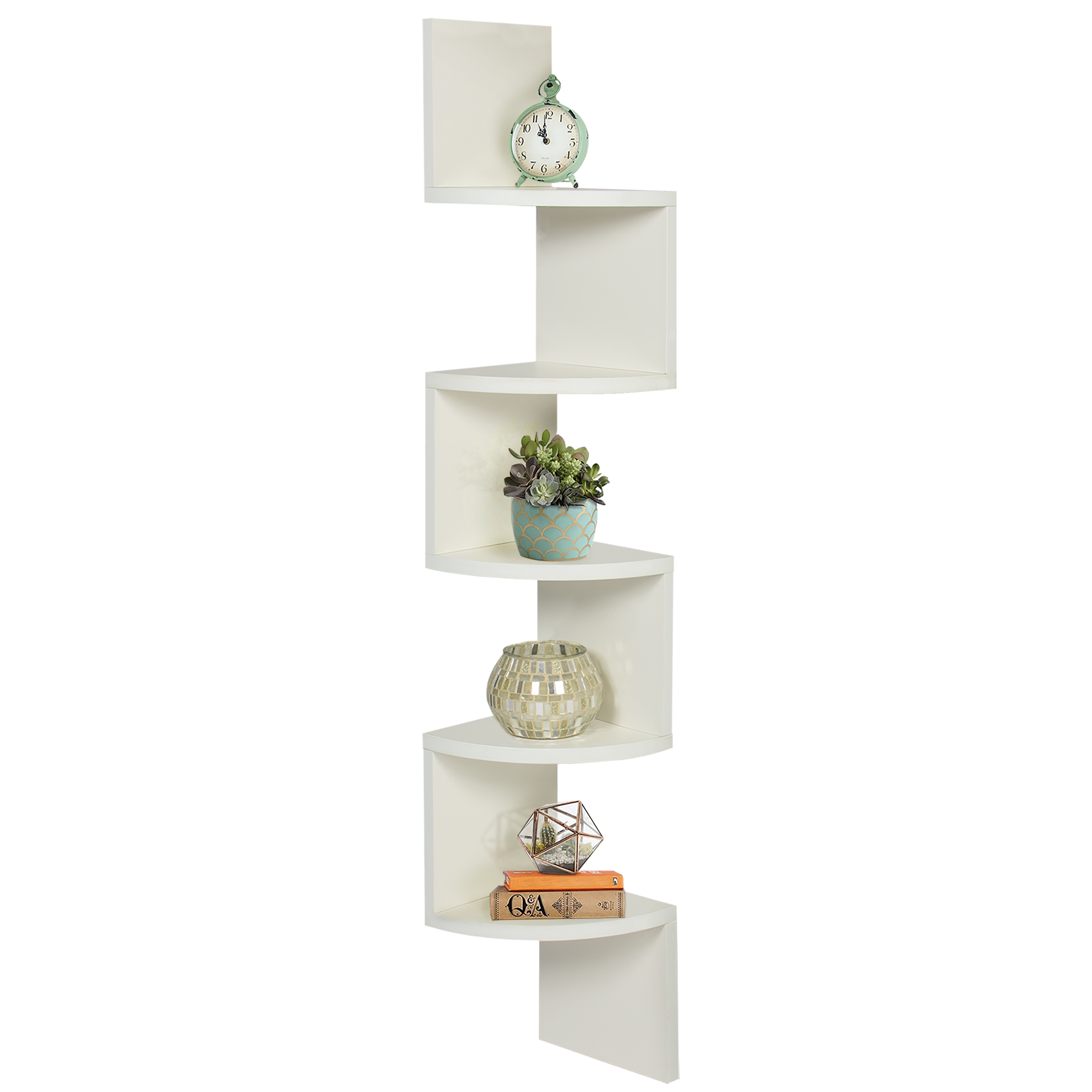 Best Choice Products Large Corner Wood Zig Zag Wall Shelf White