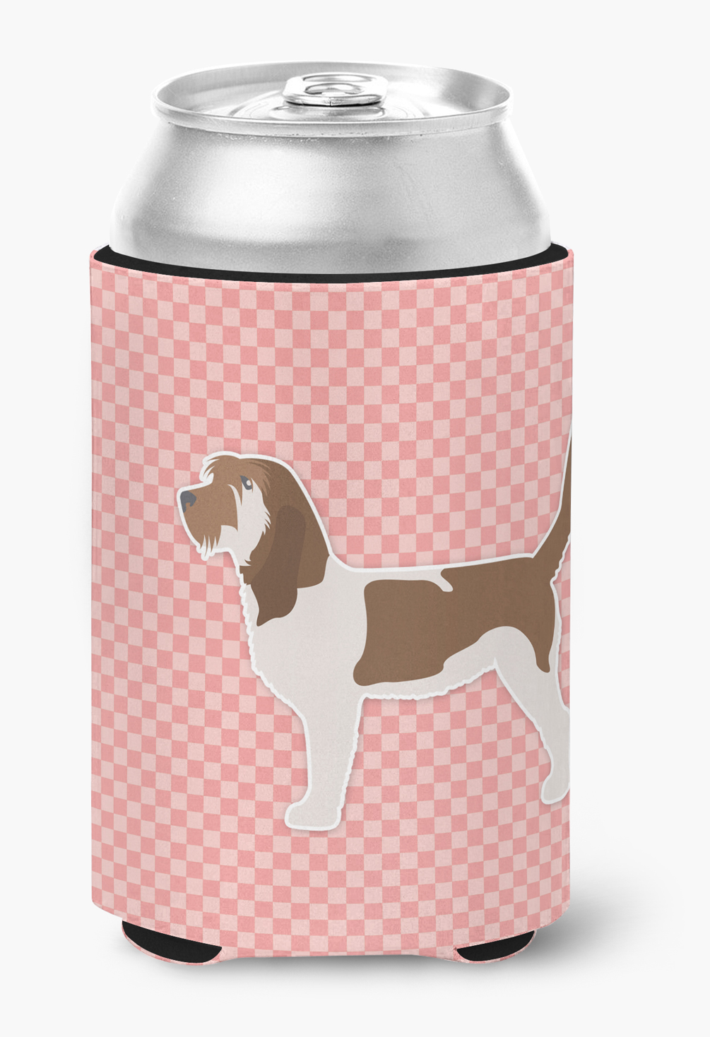 Grand Basset Griffon Vendeen Checkerboard Pink Can or Bottle Hugger by Caroline's Treasures