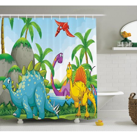Jurassic Decor Shower Curtain Set  Dinosaurs Living In The Jungle Illustration Palm Trees Lakeside Stones Fun  Bathroom Accessories  69W X 70L Inches  By Ambesonne