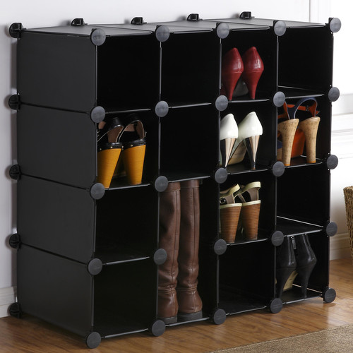 VonHaus Interlocking 16-Compartment 16 Pair Shoe Rack