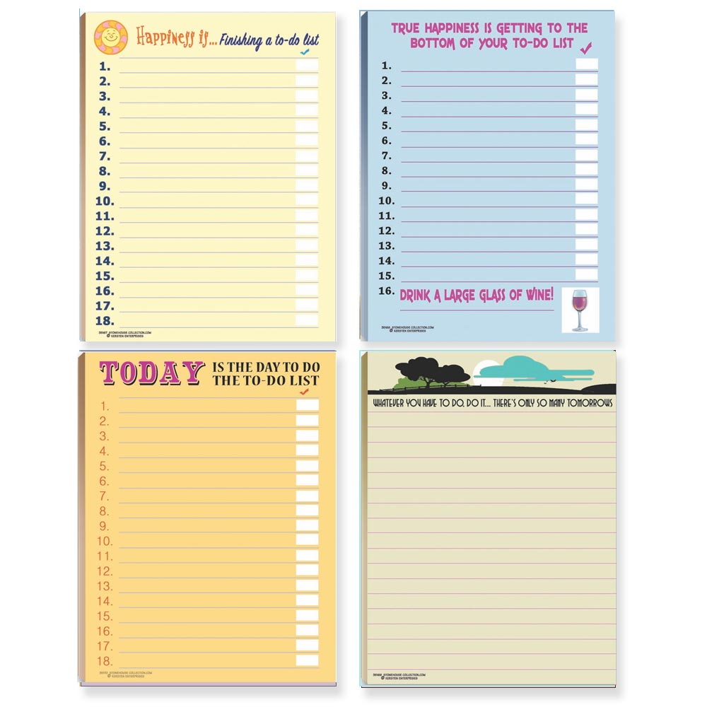 Funny To Do Lists Note Pad Assorted Pack - 4 Funny ToDo List Pads
