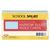 School Smart Ruled Index Cards, 3 x 5 Inches, Blue, Pack of 100