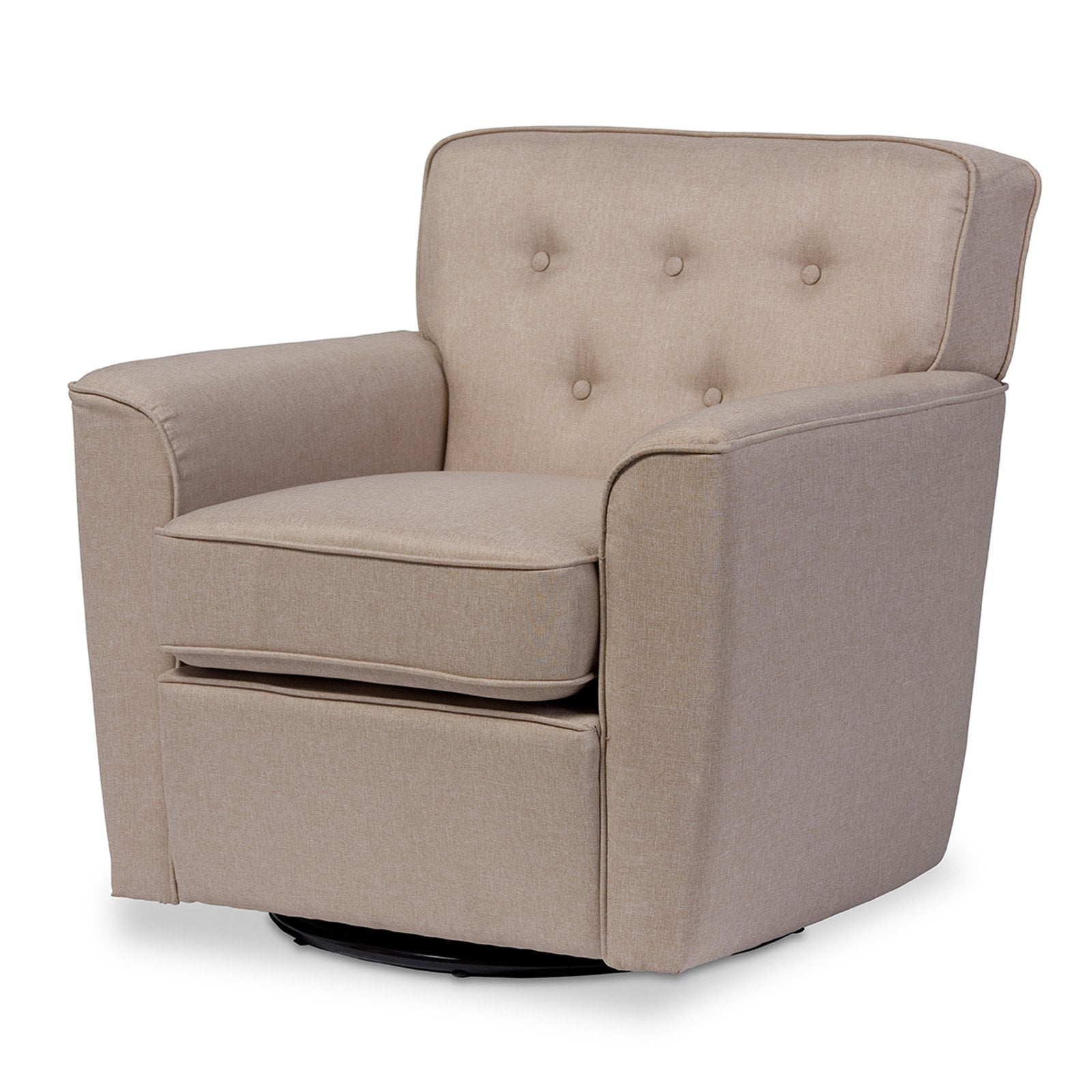 Baxton Studio Canberra Modern Retro Contemporary Beige Fabric Upholstered Button-tufted Swivel Lounge Chair with Arms by Wholesale Interiors