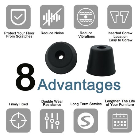32pcs Rubber Feet Bumper Amplifier Speaker Floor Protector Leg Pad, D20x15xH17mm - image 2 of 7