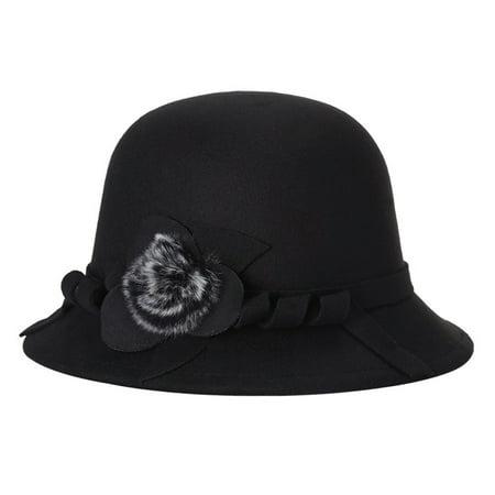 370c98ca292e4 Women Fashion Felt Fedora Hat Spring Autumn Lady Wool Bowler Caps With  Pompon Studded
