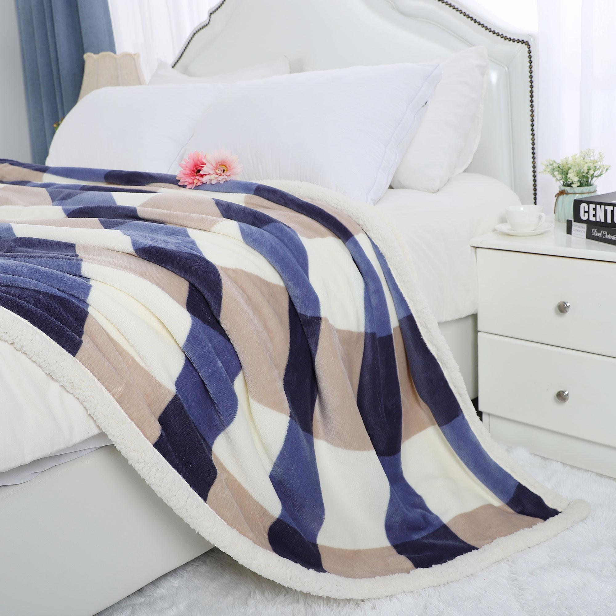 "Soft Faux Lambswool Blanket Reversible Plaid Pattern Bed Blanket Full 70"" x 78"" - image 5 de 8"