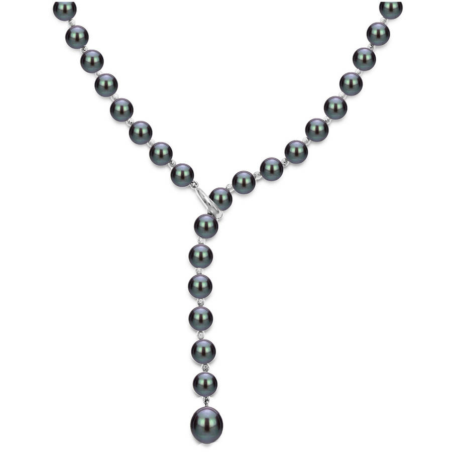 """Sterling Silver 7-8mm Black Freshwater Pearl Beaded Lariat Y Adjustable Necklace, 19.5"""" by Generic"""