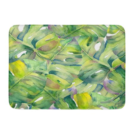 KDAGR Colorful Hawaii Abstract Watercolor Palm Leaves Place Pages Identity Leaflets Green Floral Doormat Floor Rug Bath Mat 23.6x15.7 inch