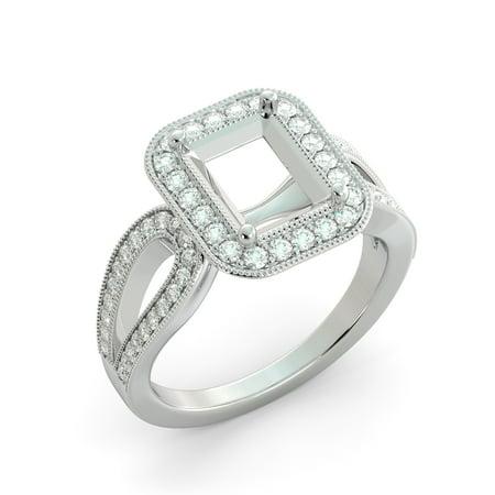 Emerald Semi Mount Ring - Emerald Halo Semi Mount Round Diamond Split Shank Engagement Ring 18k White Gold