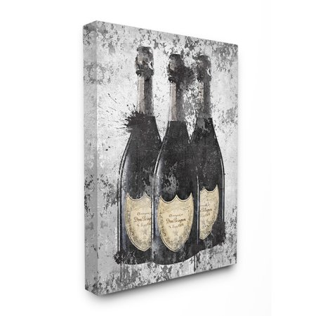 The Stupell Home Decor Collection Champagne Bottles Grey Gold Ink Illustration Oversized Stretched Canvas Wall Art, 24 x 1.5 x 30 24 X 30 Giclee Canvas
