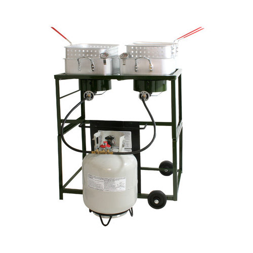 Sportsman Double Basket Outdoor Cooker and Fryer with Double Burner