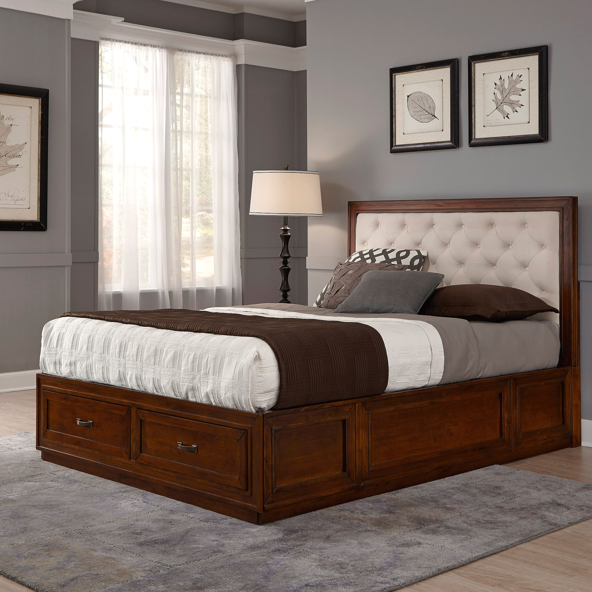 Duet Queen Tufted Diamond Panel Bed, Oyster Microfiber
