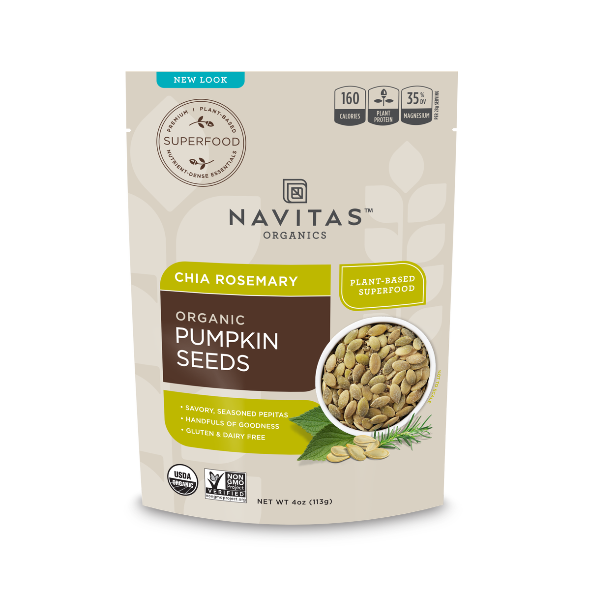 Navitas Organics Chia Rosemary Pumpkin Seeds, 4.0 Oz, 4 Servings