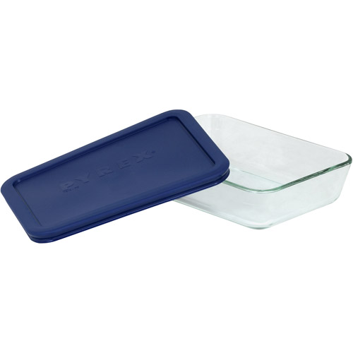 Pyrex 3-Cup Rectangle Glass Storage Set with Dark Blue Plastic Cover, Set of 6