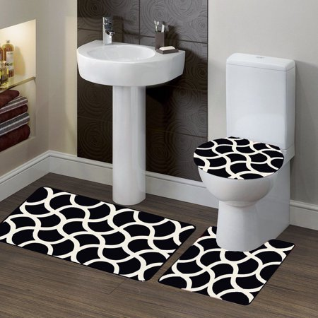 3-PC (#7) Geometric Black HIGH QUALITY Jacquard Bathroom Bath Rug ...