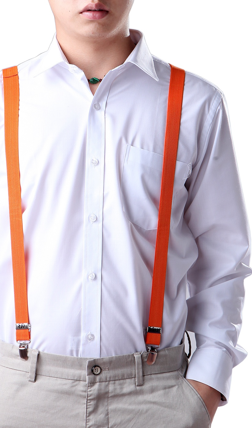 1 Inch Y-Back Black /& White Checkered Suspenders