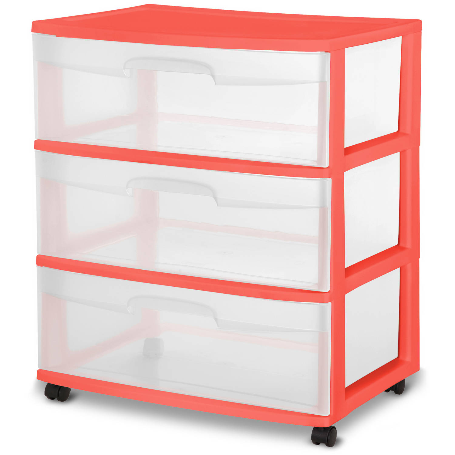 Sterilite 3-Drawer Wide Cart, Multiple Colors