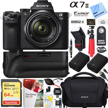 Sony a7 II 24 3MP Full-frame Mirrorless Interchangeable Lens Camera with  28-70mm OSS Lens + 32GB Battery Grip and Dual Battery Pro Video Bundle
