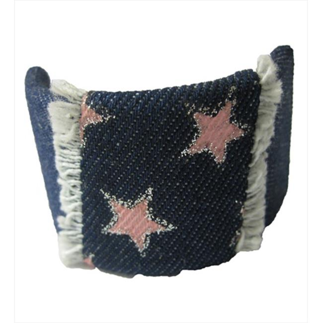 CoverYourHair 60060 Pink Stars on Denim Pony Clip
